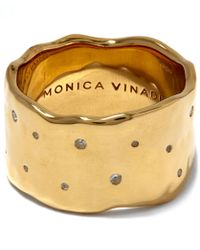 Monica Vinader - Gold-plated White Topaz Siren Scatter Wide Band Ring - Lyst