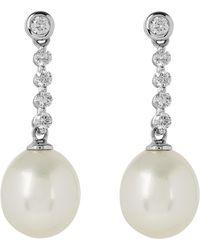 Kojis - White Gold Diamond Freshwater Pearl Drop Earrings - Lyst