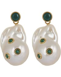 Céline - Baroque Pearl And Green Agate Drop Earrings - Lyst