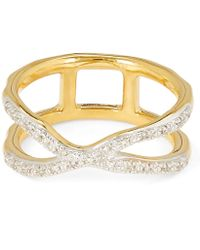 Monica Vinader - Gold Vermeil Riva Wave Cross Ring - Lyst