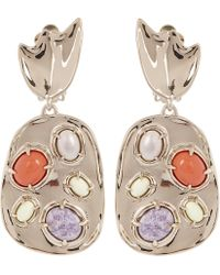 Alexis Bittar - Grey Pearl Sculptural Gemstone Cluster Clip Earrings - Lyst