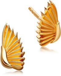 Astley Clarke - Gold-plated Mini Angel Wings Biography Stud Earrings - Lyst
