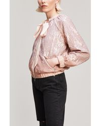 Needle & Thread - Gloss Satin Bow-detail Sequinned Jacket - Lyst