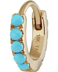 "Maria Tash - 1/4"" Turquoise Eternity Hoop Earring - Lyst"