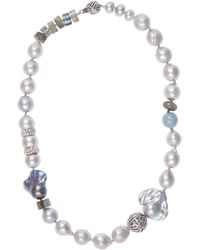Stephen Dweck - Engraved Silver And Baroque Pearl Necklace - Lyst