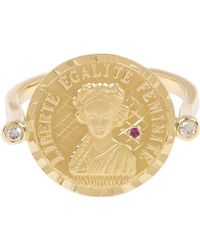 Anissa Kermiche Gold Louise D'or Ruby Coin Ring - Metallic