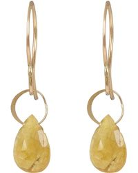 Melissa Joy Manning - Small Gold And Yellow Sapphire Drop Earrings - Lyst