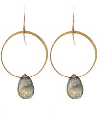 Melissa Joy Manning - Gold And Labradorite Hoop Drop Earrings - Lyst