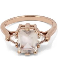 Anna Sheffield - Rose Gold Bea Three Stone Rainbow Moonstone Diamond Ring - Lyst