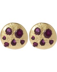 Polly Wales - Mini Ruby Disc Stud Earrings - Lyst