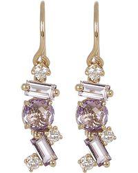 Suzanne Kalan - Gold Rose De France Diamond Drop Earrings - Lyst