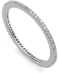 Monica Vinader - Silver Skinny Diamond Eternity Ring - Lyst