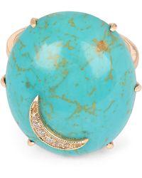 Andrea Fohrman - Gold Turquoise Oval Diamond Moon Ring - Lyst