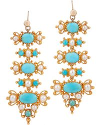 Kojis - Gold Turquoise And Pearl Drop Earrings - Lyst