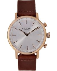 Kronaby - Carat Silver Dial Leather Strap Smart Watch - Lyst