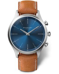 Kronaby - Sekel Sunray Blue Dial Tan Strap Smart Watch - Lyst