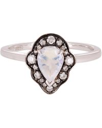 Anna Sheffield - White Gold Camellia Petal Rainbow Moonstone And Diamond Ring - Lyst