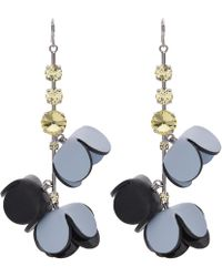 Marni - Leather And Crystal Earrings - Lyst