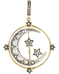 Annoushka - 18ct Gold Mythology Diamond And Pearl Spinning Moon Charm - Lyst