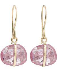 Melissa Joy Manning - Gold Single Gemstone Drop Pink Sapphire Earrings - Lyst