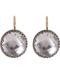 Larkspur & Hawk - Rhodium-washed White Quartz Olivia Button Earrings - Lyst