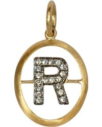 Annoushka - 18ct Gold R Diamond Initial Pendant - Lyst