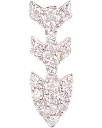 Kismet by Milka - Gold Three-arrow White Diamond Single Stud Earring - Lyst