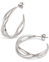Dinny Hall - Silver Twist Small Open Hoop Earrings - Lyst