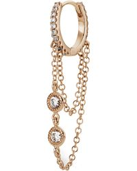 "Maria Tash 5/16"" Double Chain Diamond Eternity Hoop Earring"