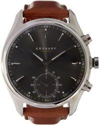Kronaby - Sekel Stainless Steel Leather Strap Smart Watch - Lyst