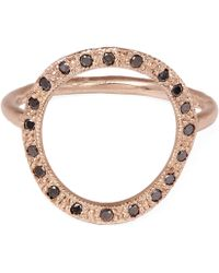 Brooke Gregson - Rose Gold Infinity Black Diamond Ring - Lyst