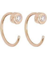 Melissa Joy Manning - White Diamond Gold Hug Hoop Earrings - Lyst