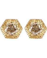 Satomi Kawakita - Gold Baby Hexagon Brown Diamond Stud Earrings - Lyst