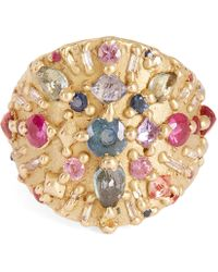 Polly Wales - Gold Ourika Shield Multi-stone Ring - Lyst