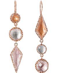 Larkspur & Hawk - Black Rose Gold-washed White Quartz Sadie Mis-matched Three-drop Earrings - Lyst