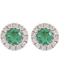 Kojis - White Gold Emerald And Diamond Cluster Stud Earrings - Lyst