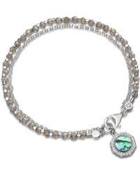 Astley Clarke - Silver Luna Abalone Sapphire And Labradorite Biography Bracelet - Lyst
