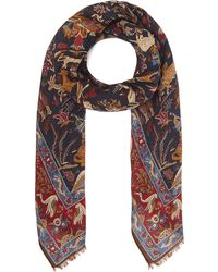 Drake's - Mughal Print Wool Blend Scarf - Lyst