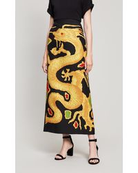 Valentino - Dragon Print Wool And Silk Blend Skirt - Lyst