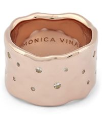 Monica Vinader - White Topaz Scatter Wide Band Ring - Lyst