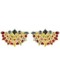 Polly Wales - Gold Pinched Rainbow Sapphire Fan Earrings - Lyst