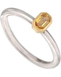 Kojis - Gold And Platinum Yellow Diamond Solitaire Ring - Lyst