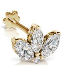 Maria Tash - 3mm Mini Diamond Engraved Lotus Threaded Stud Earring - Lyst