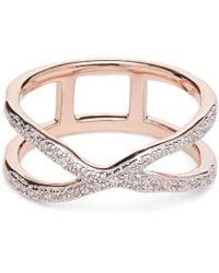 Monica Vinader - Rose Gold Vermeil Riva Wave Cross Ring - Lyst