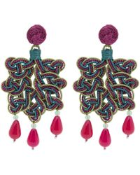 Anna E Alex - Lamé Silk Passementerie Foglia Stone Drop Earrings - Lyst
