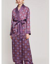 Liberty Harlequin Iphis Silk Satin Long Robe