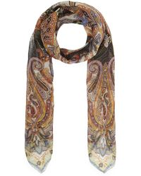 Etro - Bombay Metallic Spot Paisley Silk Scarf - Lyst