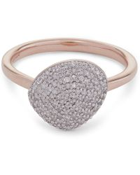 Monica Vinader - Rose Gold-plated Nura Pebble Diamond Stacking Ring - Lyst