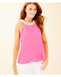 Lilly Pulitzer - Shawn Beaded Halter Top - Lyst