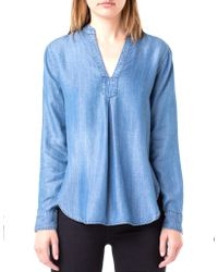 Liverpool Jeans Company - Mandarin Collar Chambray Blouse - Lyst